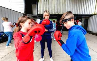 Sfeer foto tijdens een Kickboks workshop